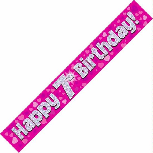 7th Birthday Pink Holographic 9ft Wall Banner