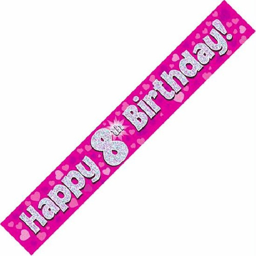 8th Birthday Pink Holographic 9ft Wall Banner