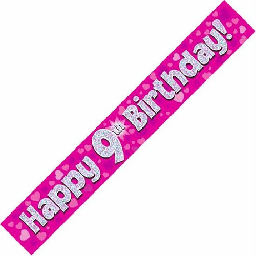 9th Birthday Pink Holographic 9ft Wall Banner