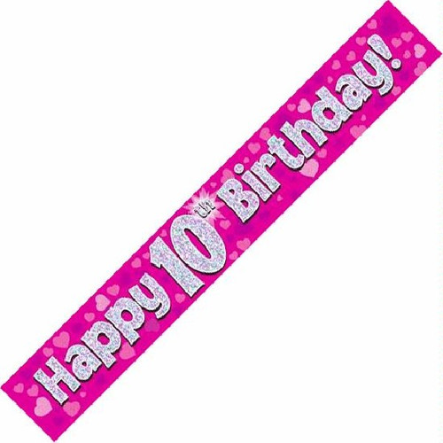 10th Birthday Pink Holographic 9ft Wall Banner