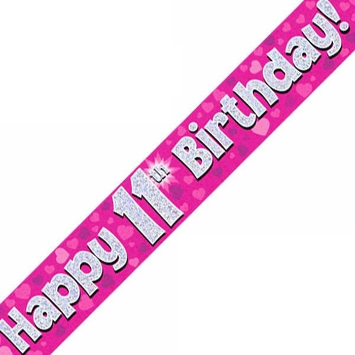 11th Birthday Pink Holographic 9ft Wall Banner