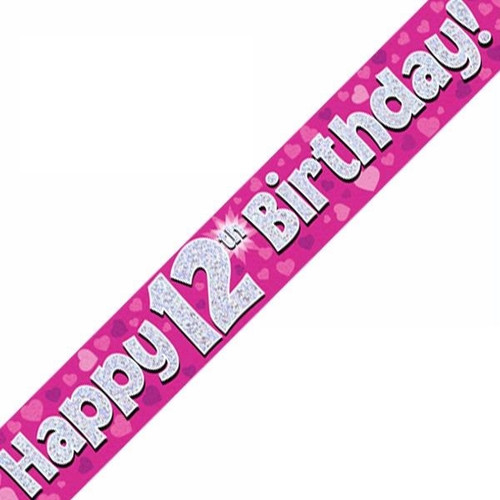 12th Birthday Pink Holographic 9ft Wall Banner
