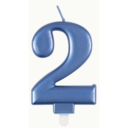 Metallic Blue Number 2 Candle