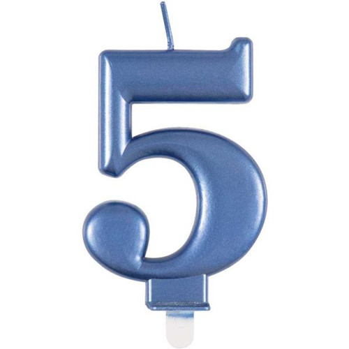 Metallic Blue Number 5 Candle