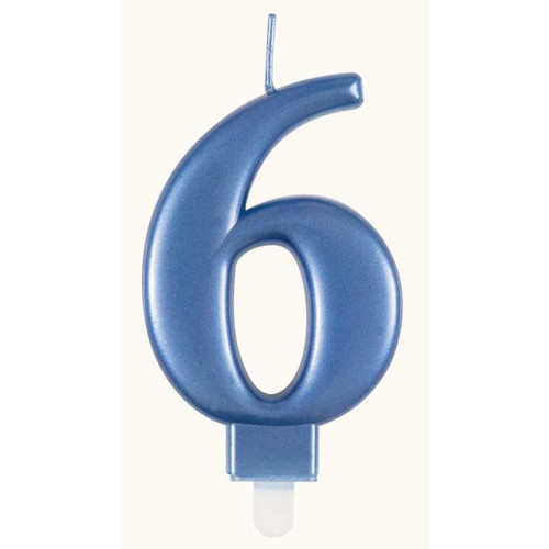 Metallic Blue Number 6 Candle
