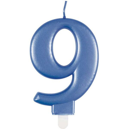 Metallic Blue Number 9 Candle