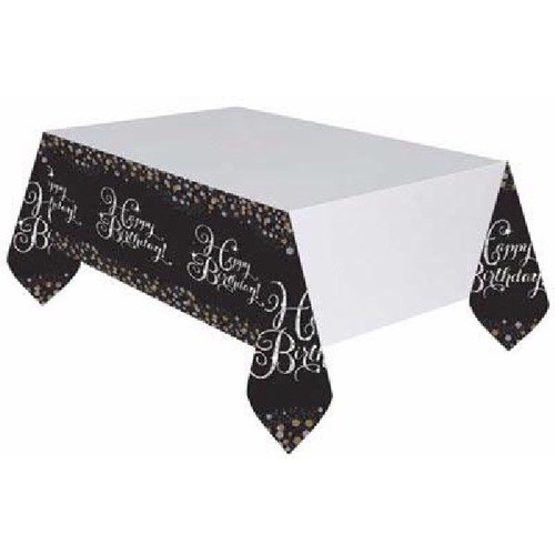 Gold Sparkles Happy Birthday Tablecover