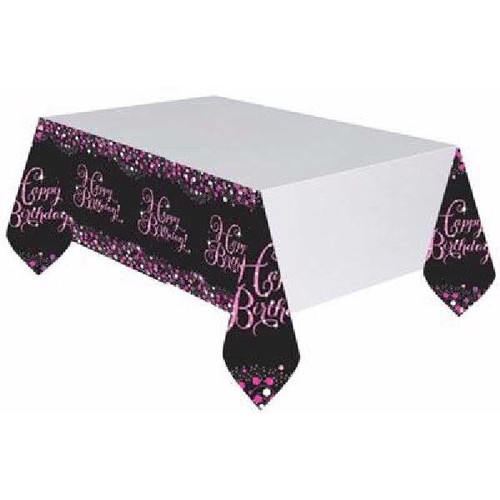 Pink Sparkles Happy Birthday Tablecover
