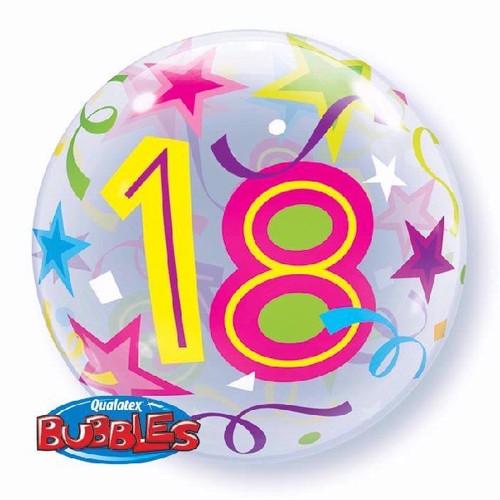 18th Birthday Stars 22in Bubble Balloon