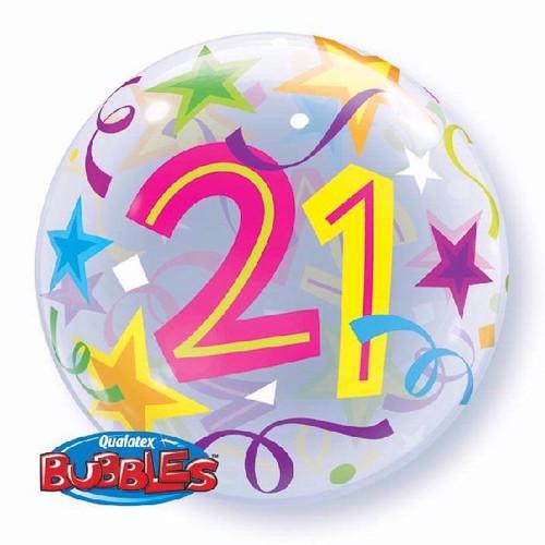 21st Birthday Stars 22in Bubble Balloon