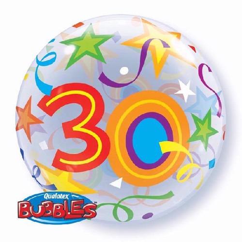 30th Birthday Stars 22in Bubble Balloon
