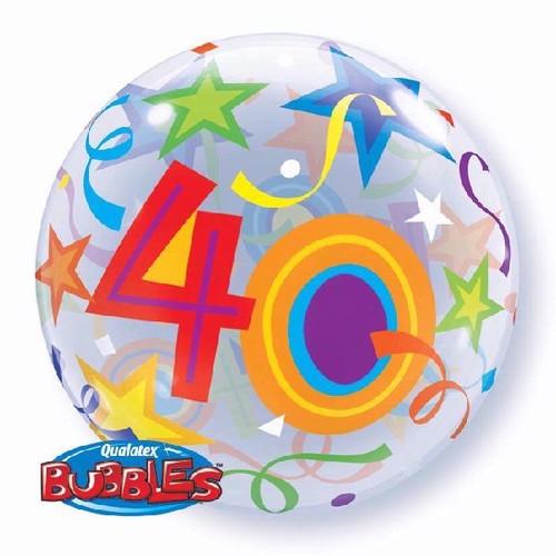 40th Birthday Stars 22in Bubble Balloon