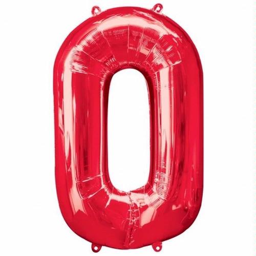 Red Number 0 Jumbo Foil Balloon