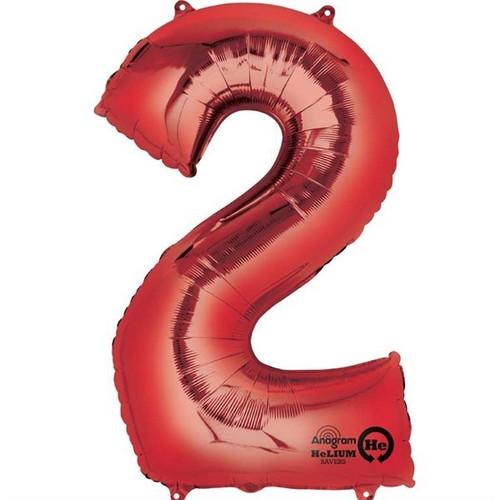 Red Number 2 Jumbo Foil Balloon