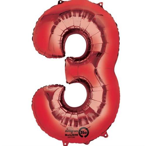 Red Number 3 Jumbo Foil Balloon