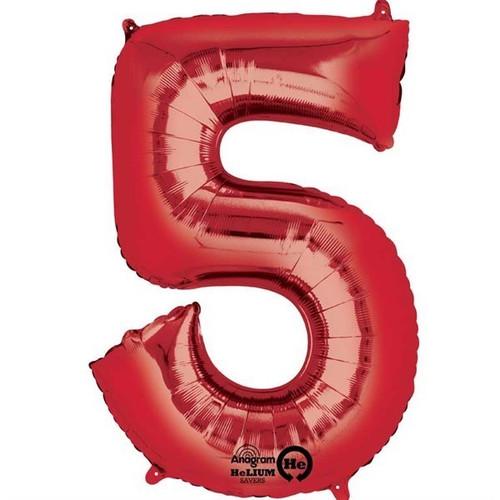 Red Number 5 Jumbo Foil Balloon