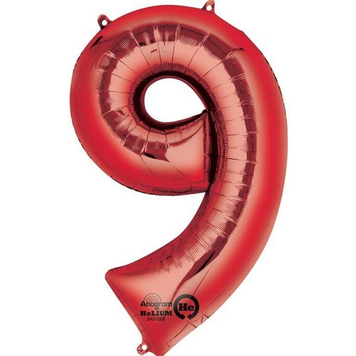 Red Number 9 Jumbo Foil Balloon