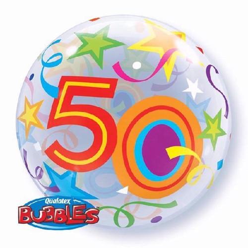 50th Birthday Stars 22in Bubble Balloon