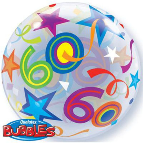 60th Birthday Stars 22in Bubble Balloon