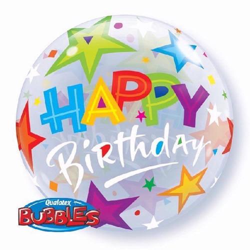 Birthday Brilliant Stars 22in Bubble Balloon