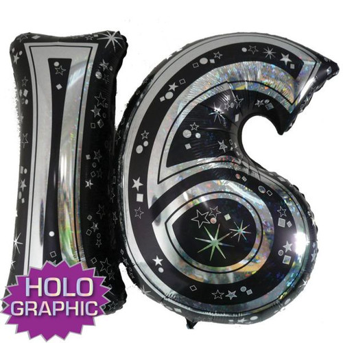 16th Black Foil Balloon