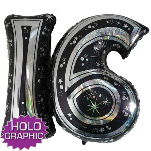 16th Black Foil Balloon