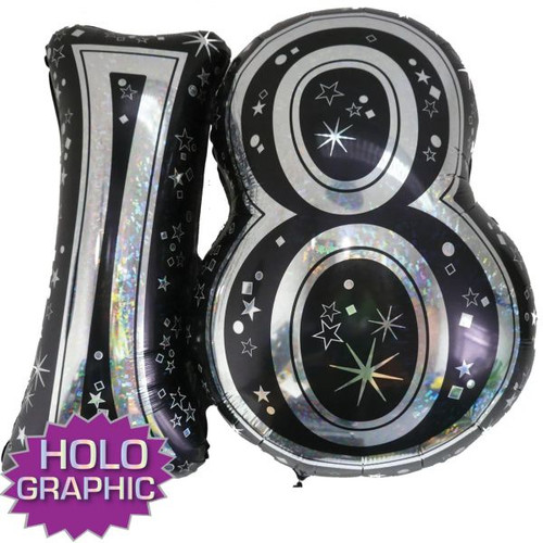 18th Black Foil Balloon