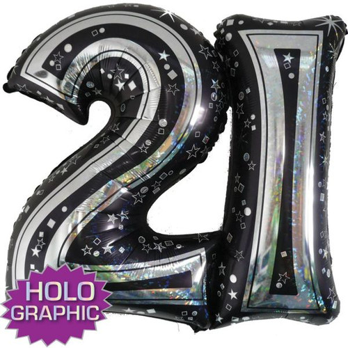 21st Black Foil Balloon