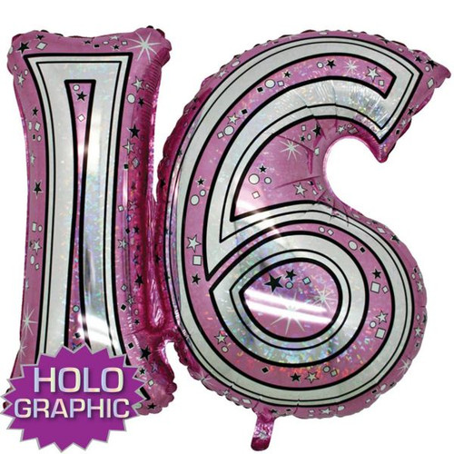 16th Pink Foil Balloon