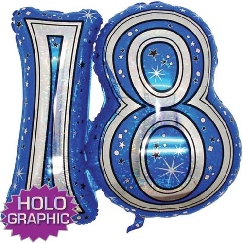 18th Blue Foil Balloon