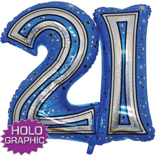 21st Blue Foil Balloon