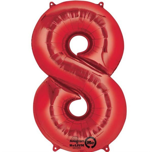 Red Number 8 Jumbo Foil Balloon