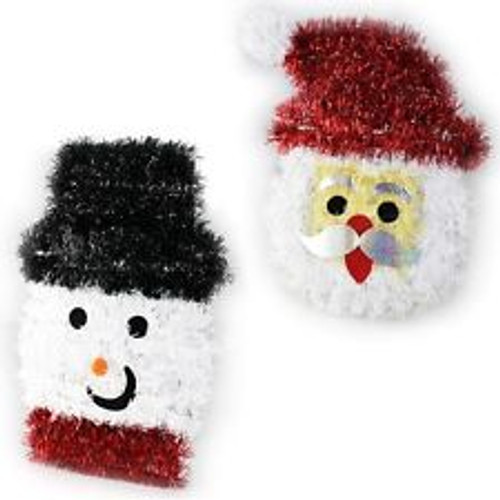 Santa & Snowman Tinsel Wall Plaque