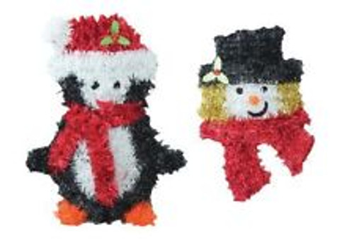 Penguin & Snowman Tinsel Wall Plaque