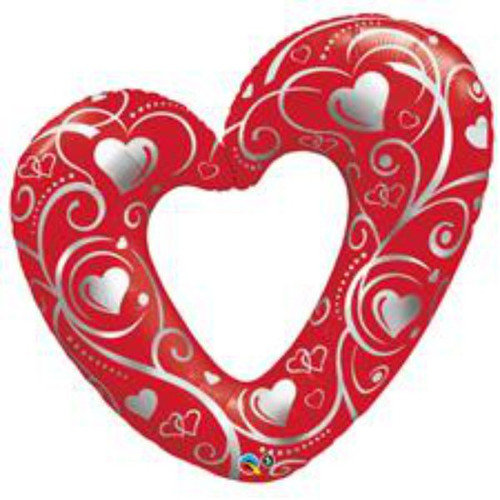 Hearts & Filigree Red Super Shaped Foil Balloon