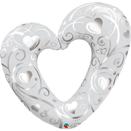 Hearts & Filigree Silver Super Shaped Foil Balloon