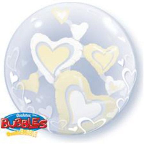 White & Ivory Floating Hearts 24in Double Bubble