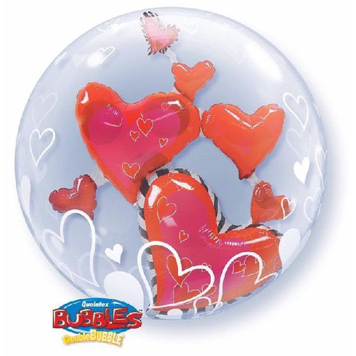 Red Floating Hearts 24in Double Bubble