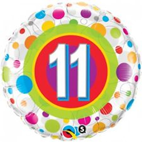 11th Colorful Dots 18 Inch Foil Balloon