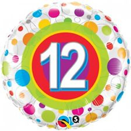 12th Colorful Dots 18 Inch Foil Balloon