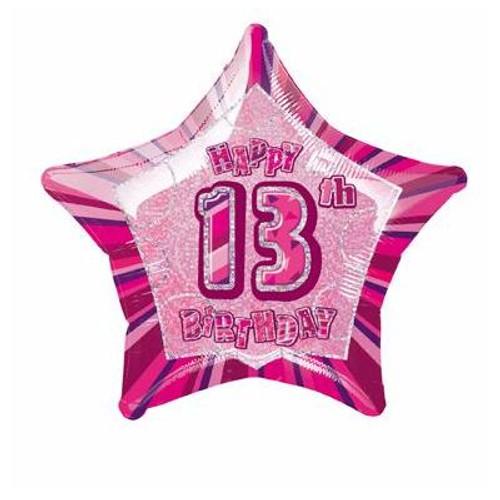 13th Pink Glitz 20 Inch Foil Balloon