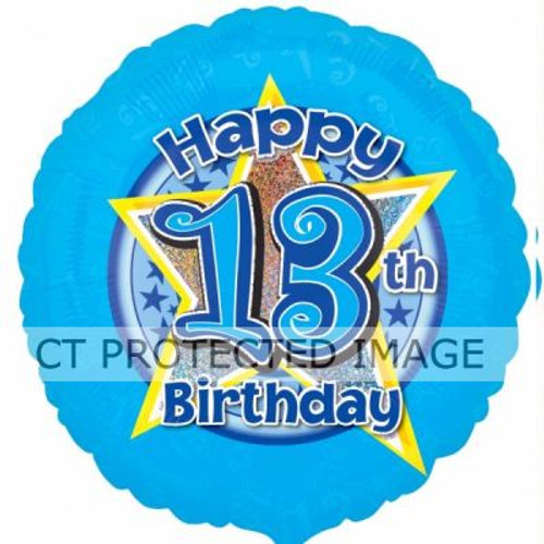13th Birthday Blue Stars 18 Inch Foil Balloon