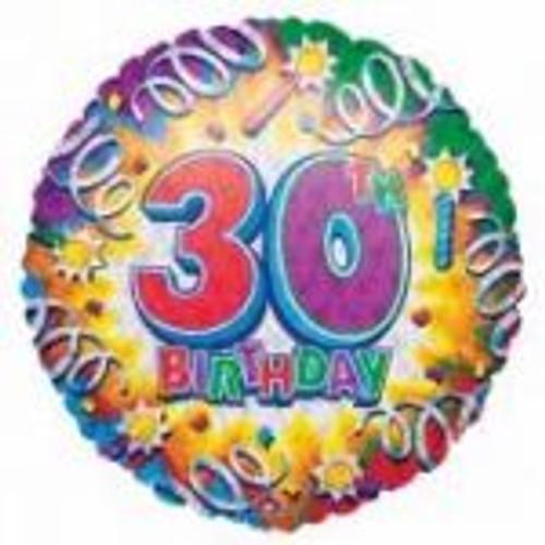 30th Happy Birthday 18th Foil Balloon