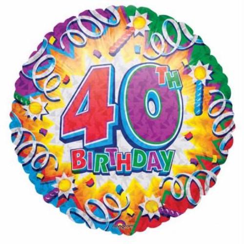 40th Happy Birthday 18th Foil Balloon