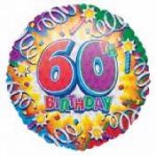 60th Happy Birthday 18th Foil Balloon