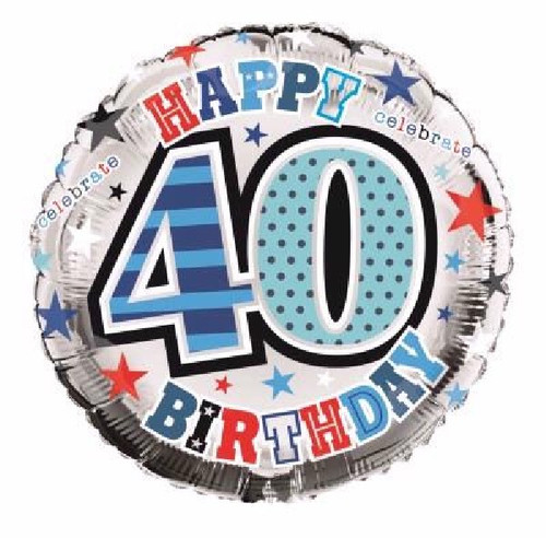 40th Birthday Male 18 Inch Foil Balloon