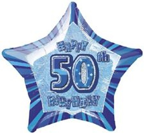 50th Blue Glitz 20 Inch Foil Balloon