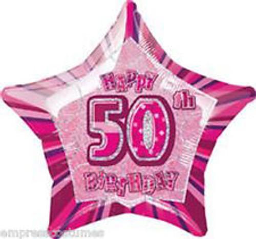 50th Pink Glitz 20 Inch Foil Balloon