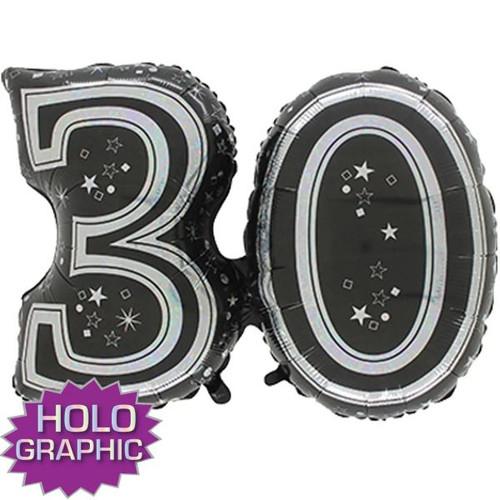 30th Black Foil Balloon