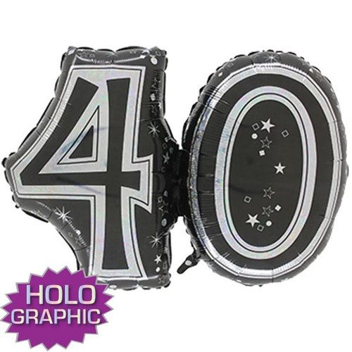 40th Black Foil Balloon